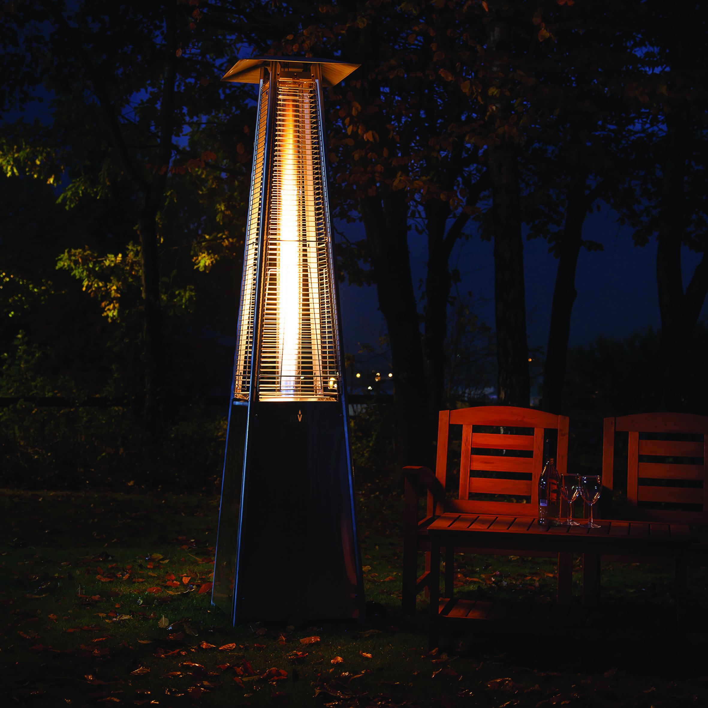alva designer glass patio heater - gas extreme - Designer Patio Heaters