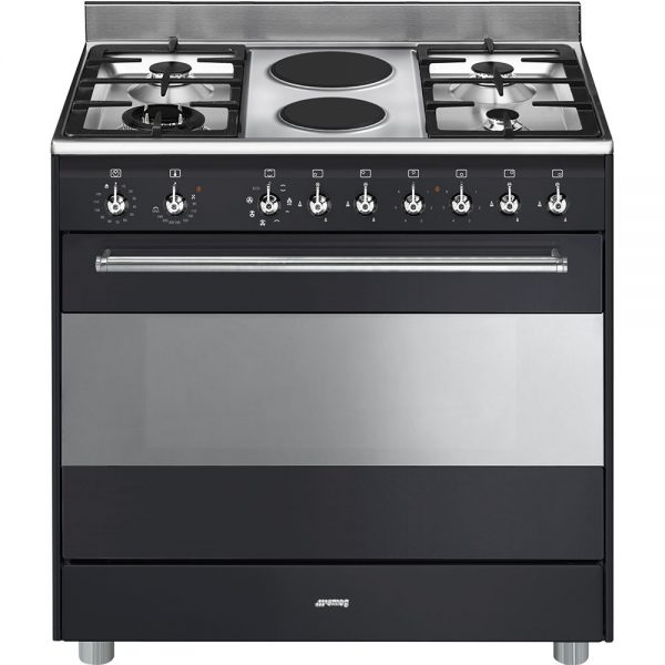 smeg 90cm Concert Gas-Electric Cooker - Anthracite Black